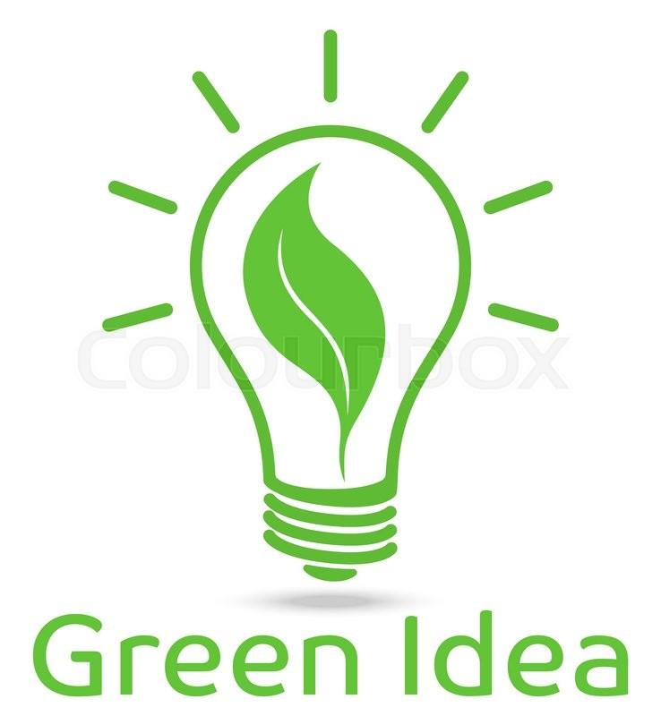 eco light bulb vector design green idea stock vector
