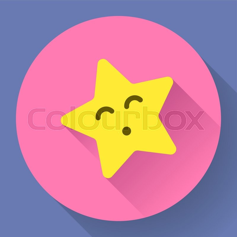 Yellow Star With Kiss Face Vector Character Stock Vector Colourbox