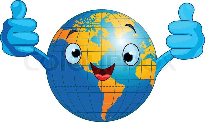 cartoon world globe giving thumbs up western hemisphere vector