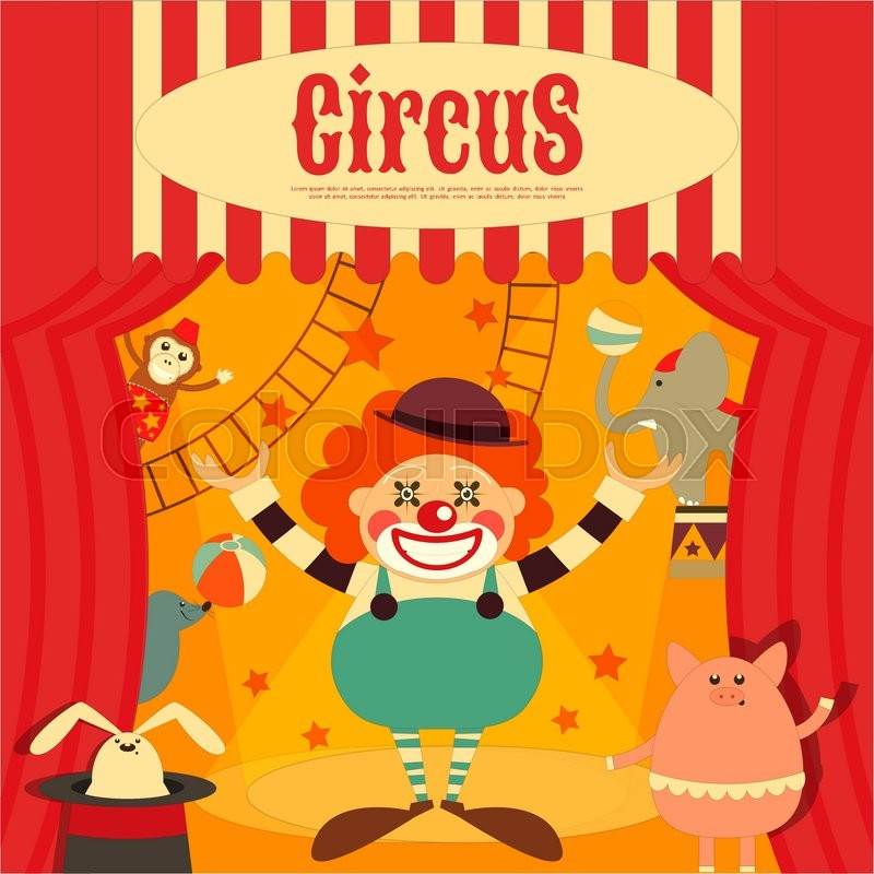 Circus entertainment poster retro cartoon style circus animals and characters vector