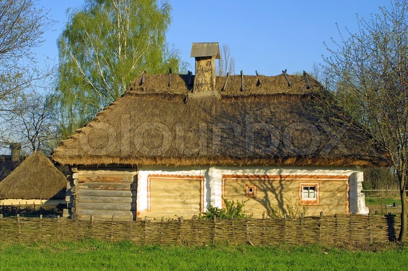 Typical Thatched Roof House In Ukraine Stock Photo