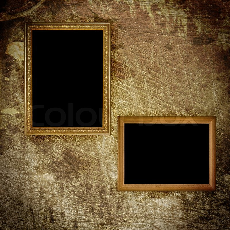 Old Frame Hanging On The Wall Grunge Stock Photo Colourbox