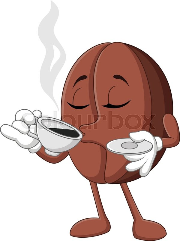 Vector Illustration of Cartoon funny Coffee bean drinking ...