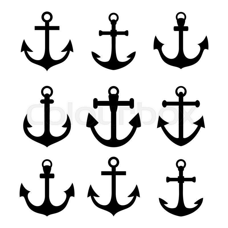 set of anchor symbols black silhouettes isolated on white