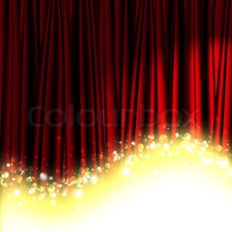 Red theater curtain with stars | Stock Photo | Colourbox
