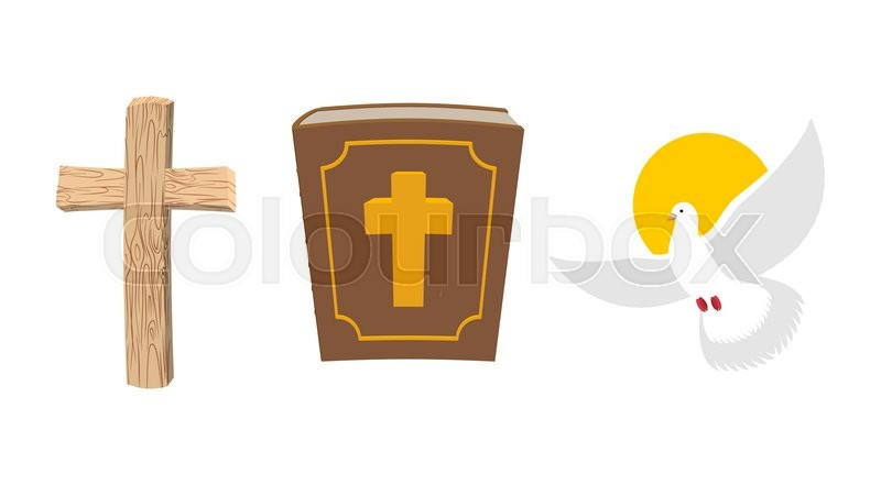 Holy Bible, wooden cross and White     | Stock vector | Colourbox