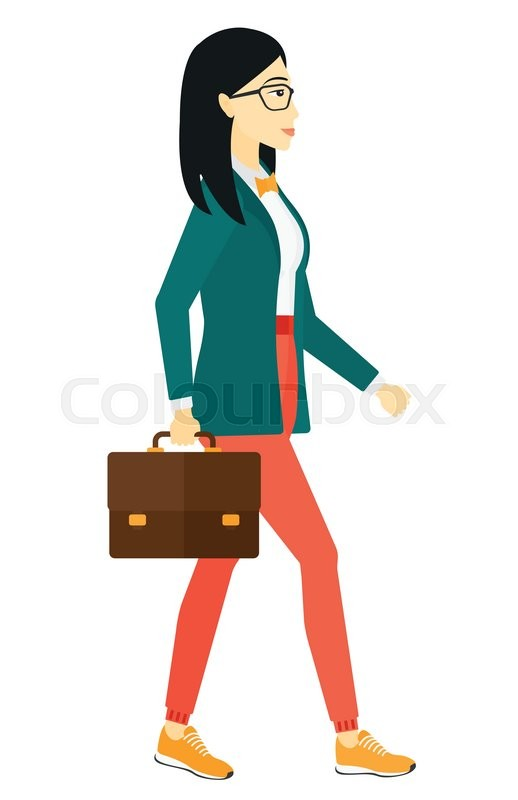 An asian business woman walking with a briefcase vector