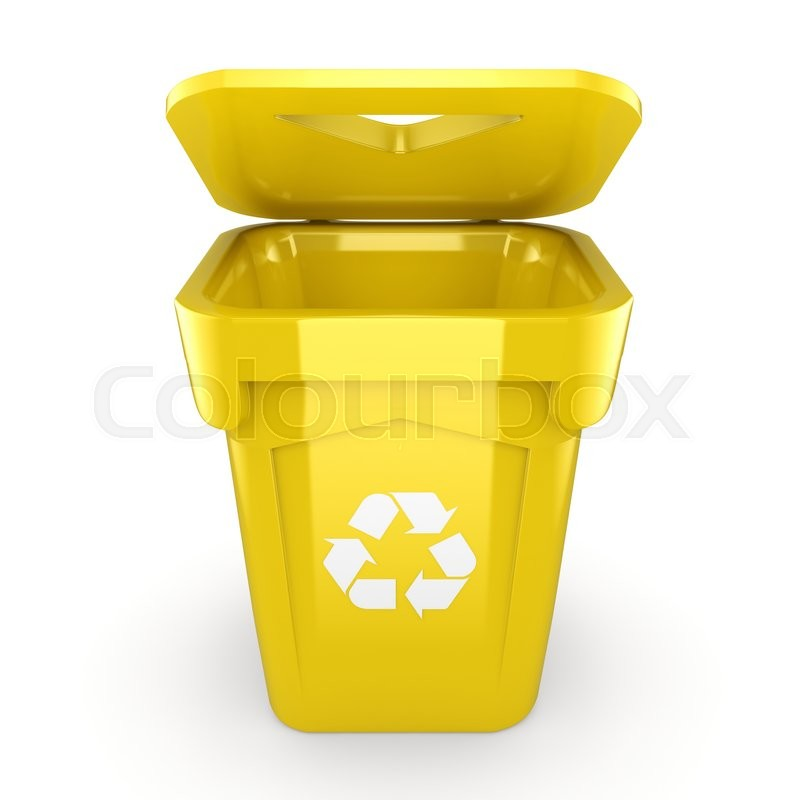 Yellow Recycling Bin isolated on white ... | Stock image ...