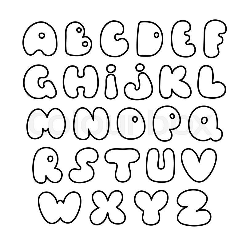 Vector Alphabet Hand Drawn Letters Creative Comic Font Fat