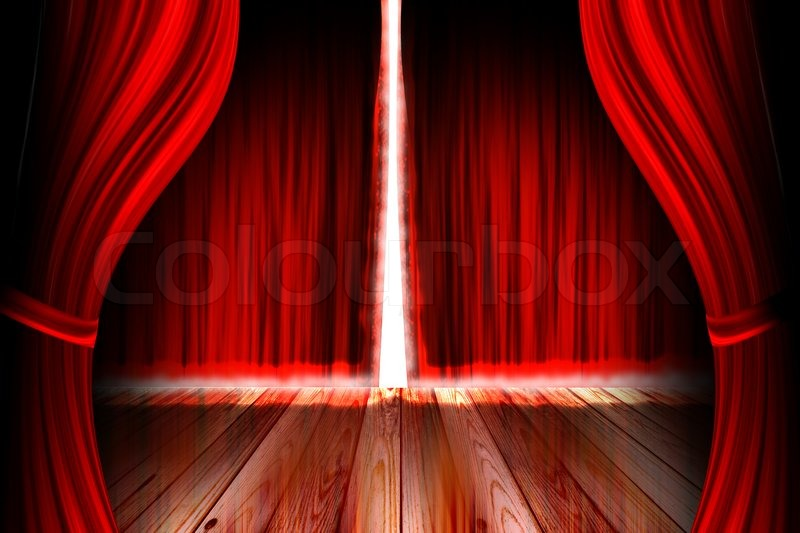Red Theater Stage With Open Curtain Stock Photo Colourbox
