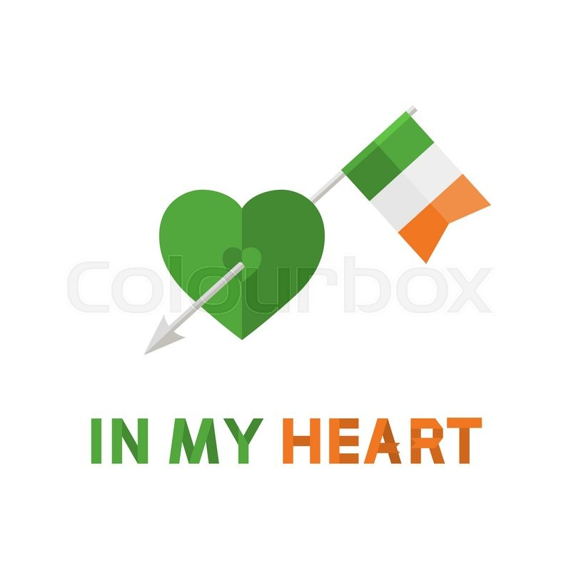 Vector Modern Arrow With Ireland Flag In Green Heart Signsymbolicon With Text In My Heart In Flat Style Isolated On A White Background Patrick