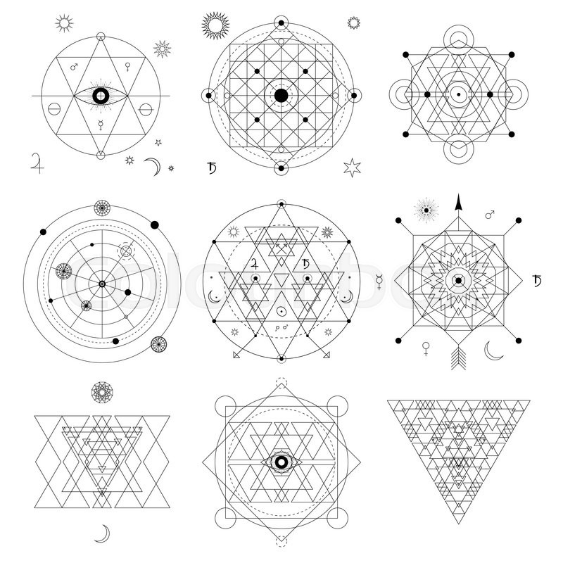 Mystical Geometry Symbols Set Linear Alchemy Occult Philosophical
