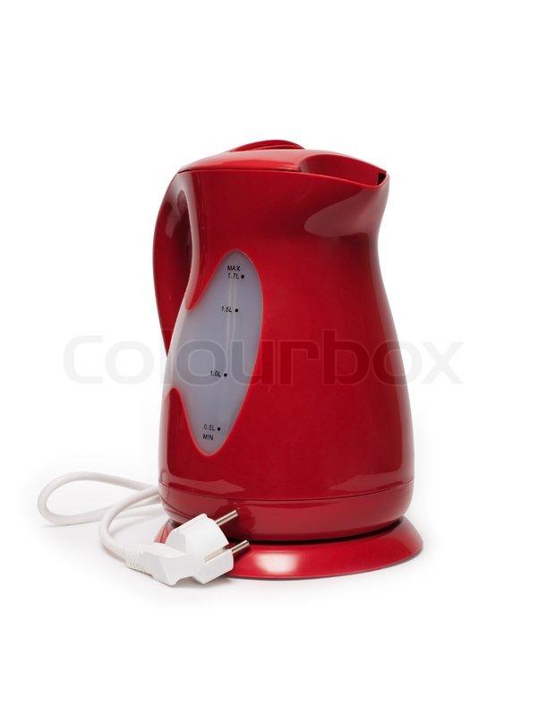 Moderne rød elkedel isoleret på hvid baggrund | stock foto | Colourbox