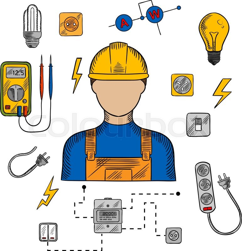 Electrician Profession Icons With Electric Man In Yellow Hard Hat Electrical Household Supplies Tools And Equipments Symbols For Industrial