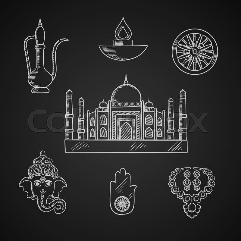 Indian religion and culture symbols with Ganesha God, ashoka Chakra