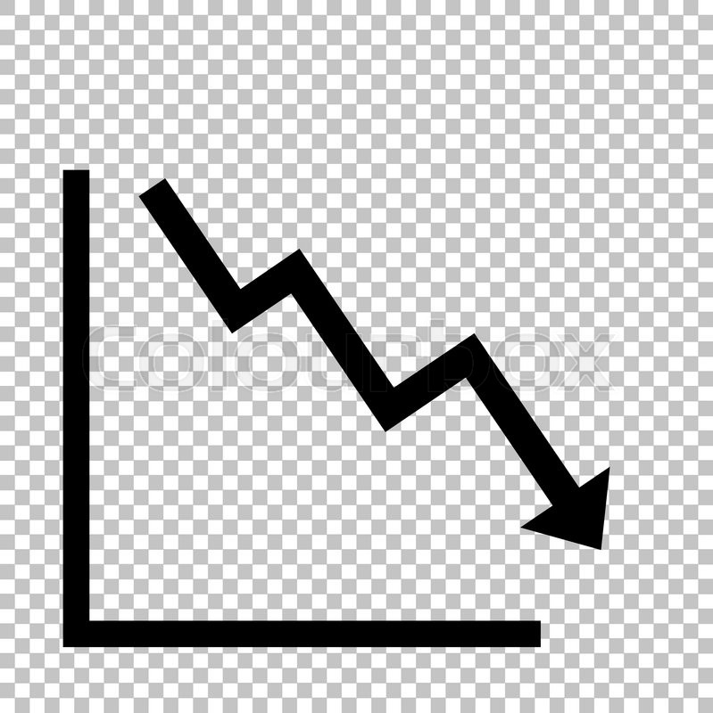 Arrow Pointing Downwards Showing Crisis Flat Style Icon On Transparent Background