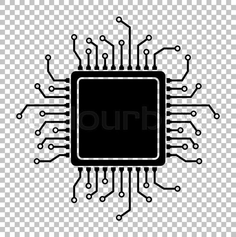 CPU Microprocesso Flat Style Icon On Transparent