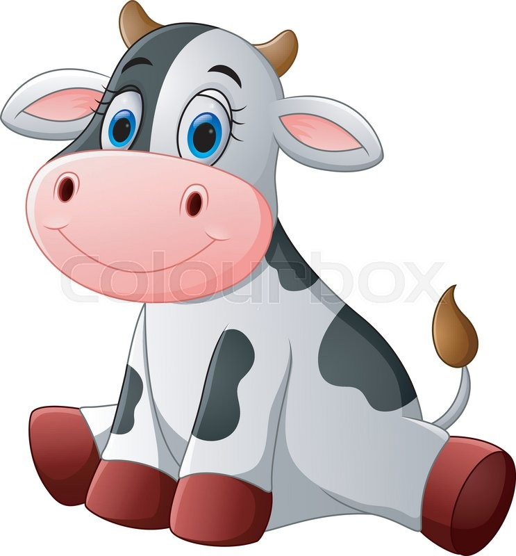 Vector illustration of Cute baby cow cartoon sitting ...