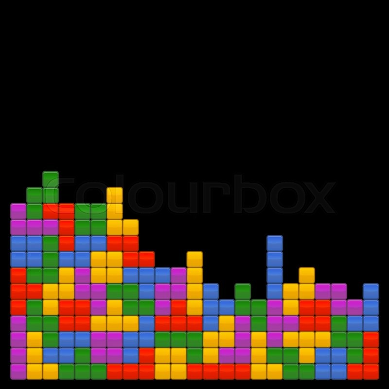 game brick tetris template on black background vector illustrations