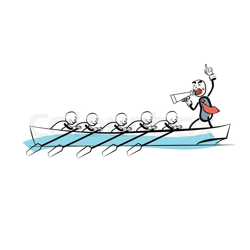 Leader Teamwork Business Concept Boat Rowers The