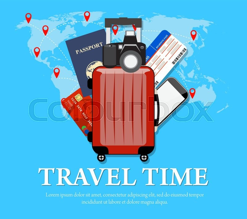 Colourful travel concept vector flat banner with travel bag and colourful travel concept vector flat banner with travel bag and world map travel suitcase air tickets passports and credit cardsphone camera stock gumiabroncs Gallery