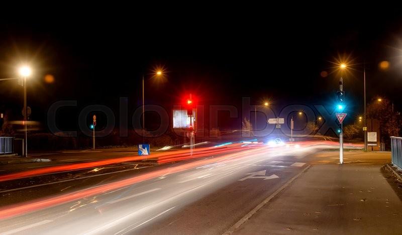 Night city, roadway , lighting street lights blurred ...  Night city, roa...