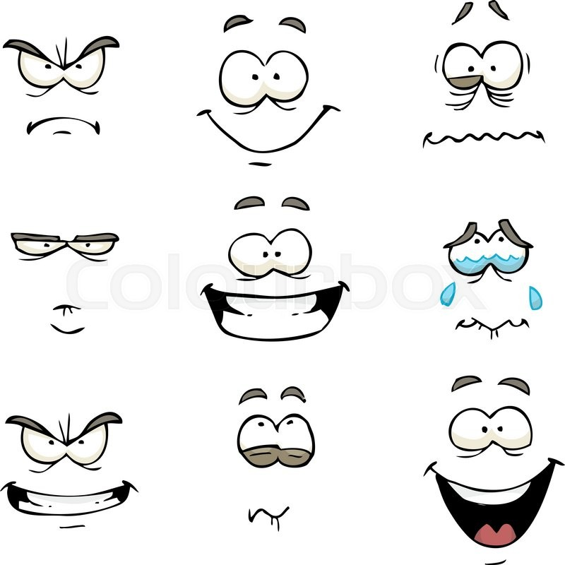 Cartoon doodle set comics face vector illustration | Stock ...
