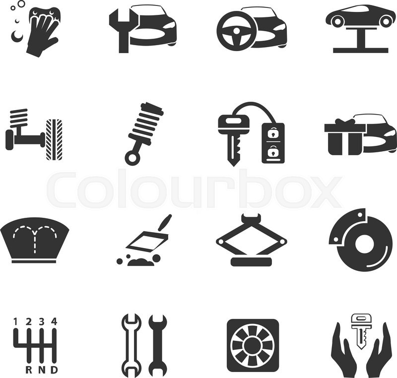Car Shop Icon Set For Web Sites And Stock Vector Colourbox