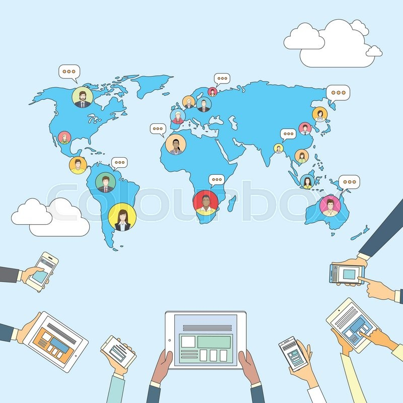 Social media communication world map concept internet network social media communication world map concept internet network connection people flat vector illustration stock vector colourbox gumiabroncs