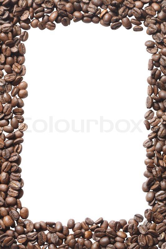 rahmen aus kaffeebohnen isoliert auf wei em hintergrund. Black Bedroom Furniture Sets. Home Design Ideas