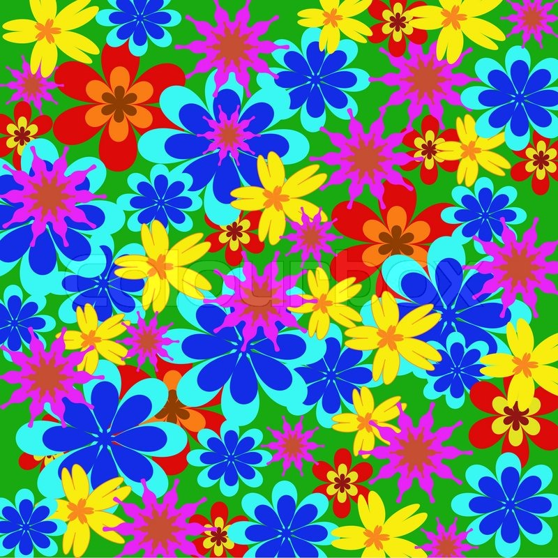 Background from multi-colored flower in bulk on a grass ...