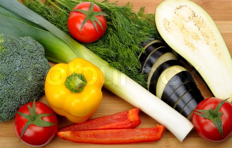 Stock Image Of U0027Vegetables On A Cutting Boardu0027