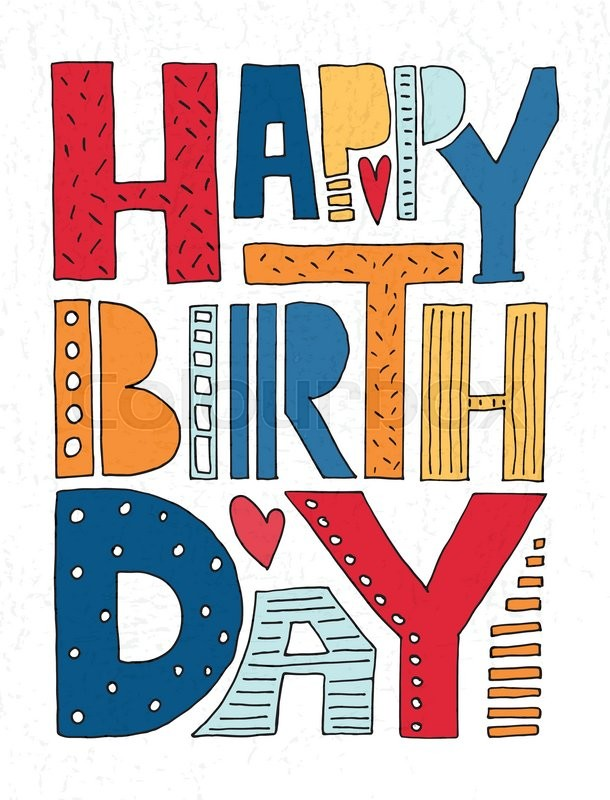 hand drawn typography poster happy birthday lettering typography