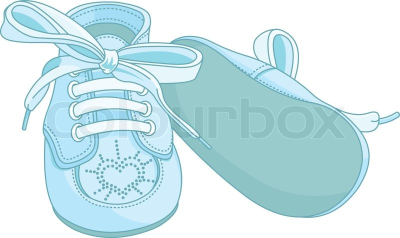 Blue baby shoes on white background | Stock Vector | Colourbox