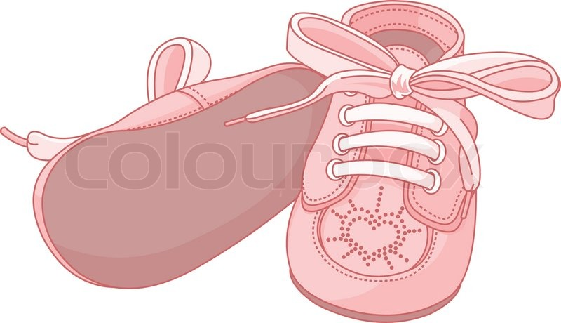 Pink Baby Shoes On White Background Stock Vector Colourbox