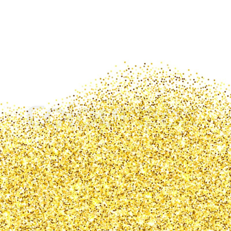 Gold glitter texture border over white background ...