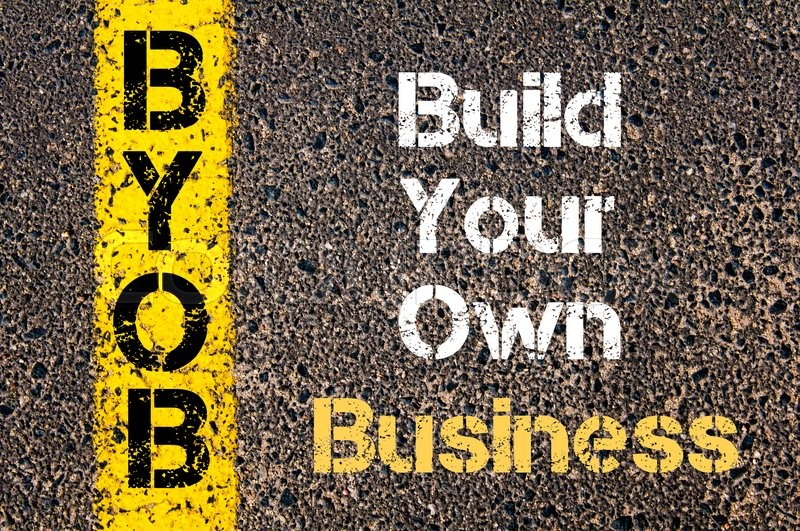 94bc74f9be8 Concept image of Business Acronym BYOB Build Your Own Business written over  road marking yellow paint line