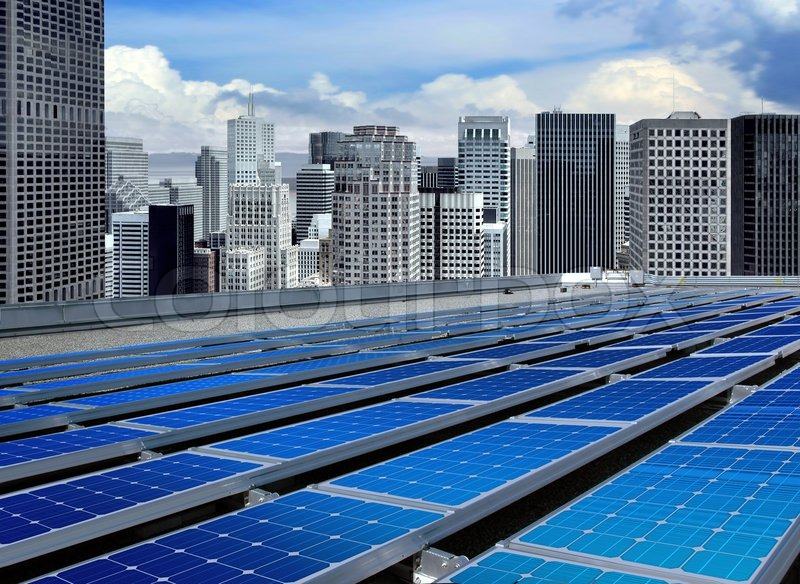 Solar panels on the roof of modern skyscraper | Stock Photo ...