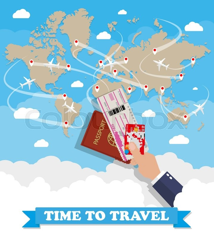 Brown world map with routes airplane hand with passport ticket and brown world map with routes airplane hand with passport ticket and debit credit card vector illustration in flat design on blue background with clouds gumiabroncs Image collections