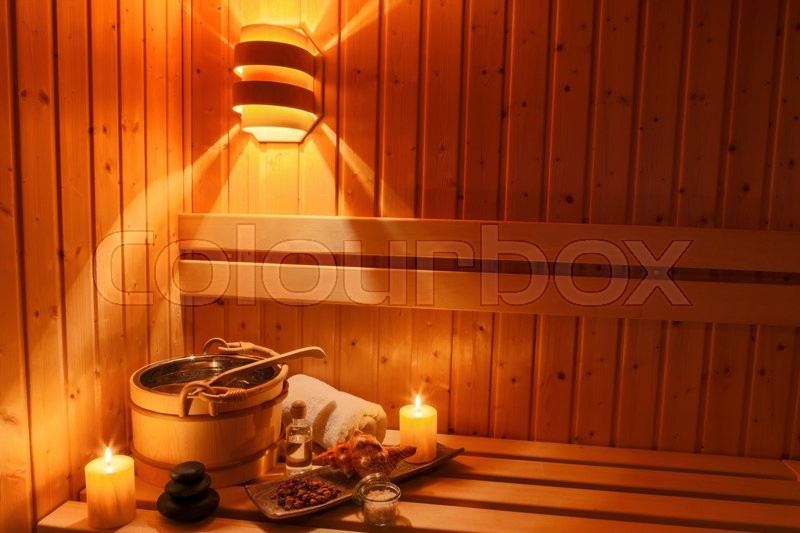 Cozy atmosphere in the sauna at a spa area of a wellness hotel. recreation and relax from everyday life, stock photo