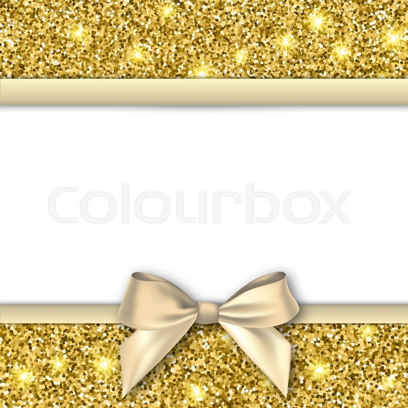 invitation decorative card template with bow and gold shiny glitter