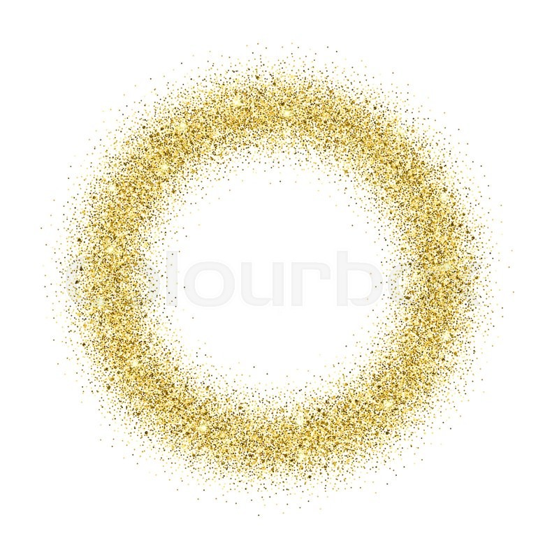 Gold glitter background. Gold sparkle round frame. Template for ...