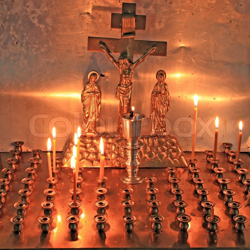 Candles In Christian Church Stock Photo Colourbox