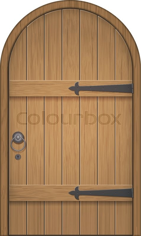 Old wooden arch door. Closed door made of wooden planks with iron hinges. Vector isolated illustration vector & Old wooden arch door. Closed door made of wooden planks with iron ...
