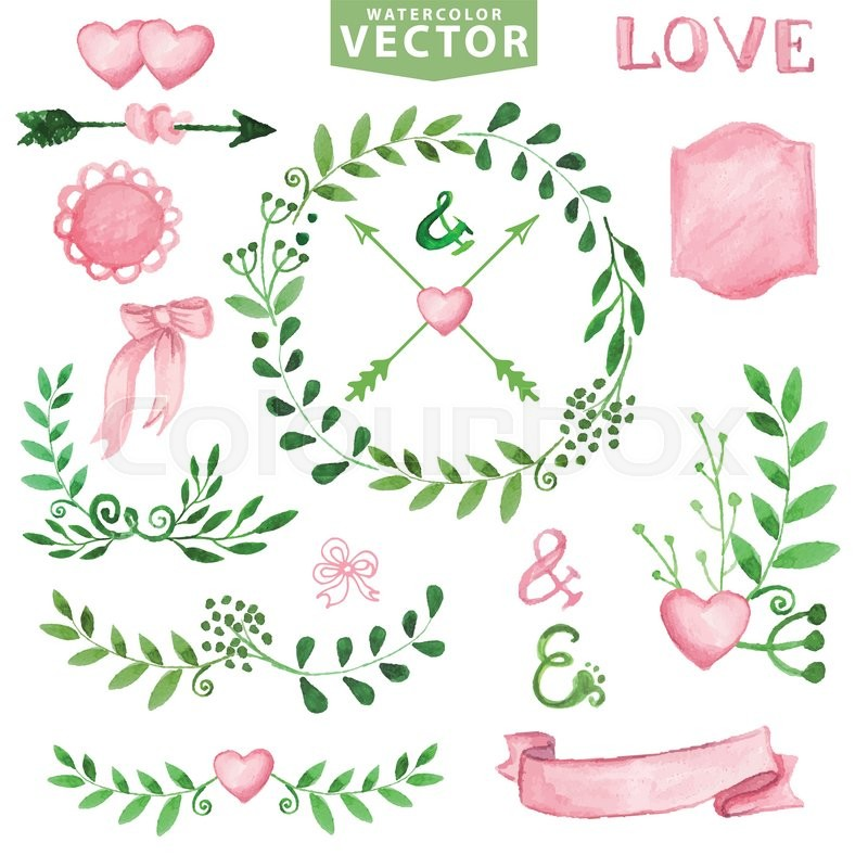 Watercolor wedding decoreen branches wreaths and laurels pink stock vector of watercolor wedding decoreen branches wreaths and laurels pink decor junglespirit Image collections