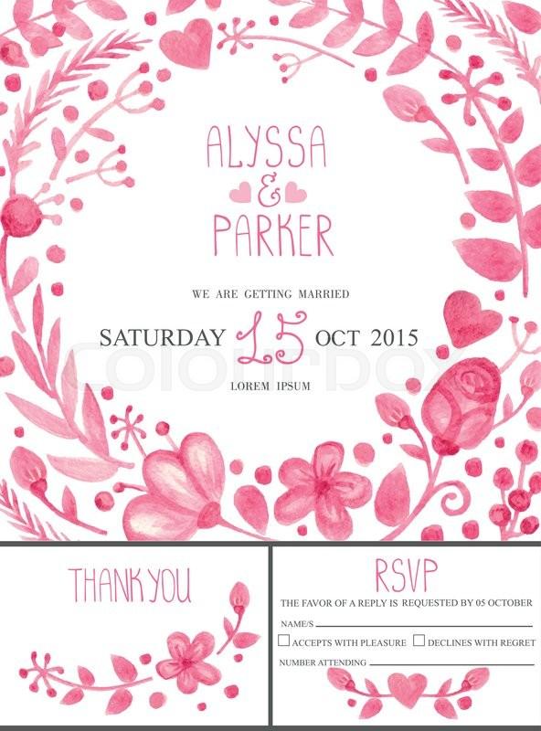 watercolor retro wedding design template set pink floral