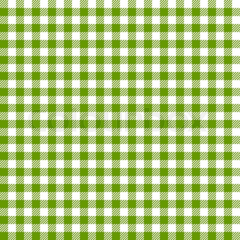 vintage checkered table cloth background colored green   stock