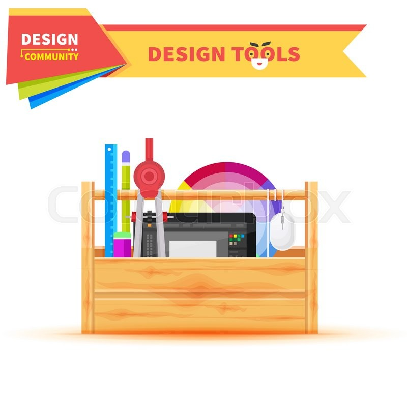 Design Tools In Wood Box Graphic Tablet Tool And Elements Pencil Art Drawing