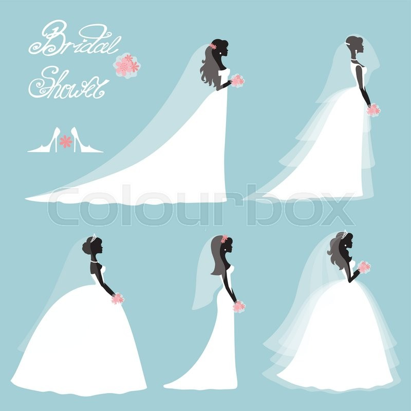Bridal Shower Decor SetCartoon Girlwoman SilhouetteportraitSwirling Borders RibboniconslabelInvitation Design Template KitVintage Vector