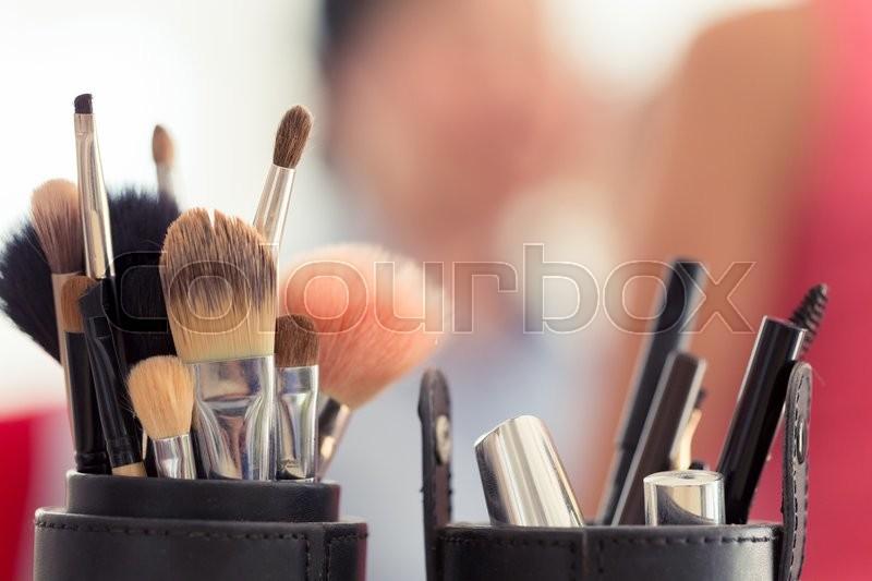 Sets makeup brush for professional makeup artist, stock photo
